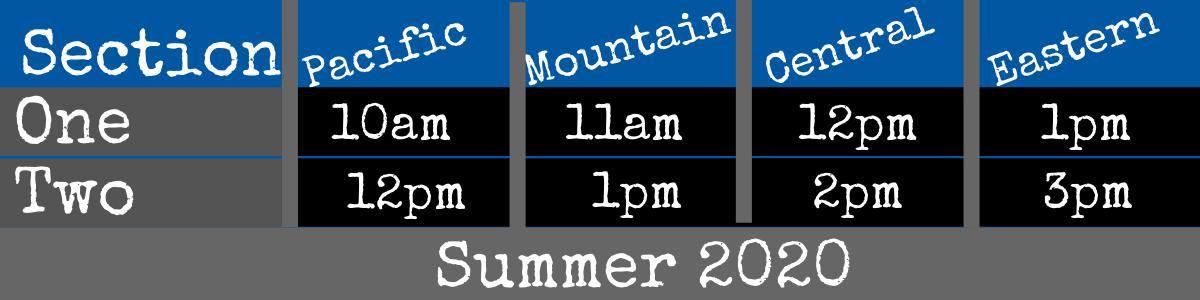 Summer 2020 Schedule