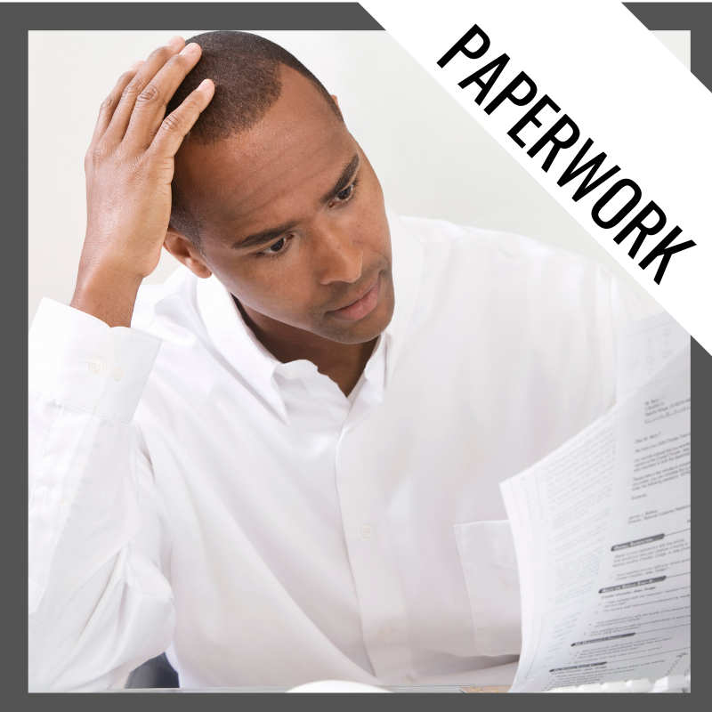 Paperwork in Adult Study Hall