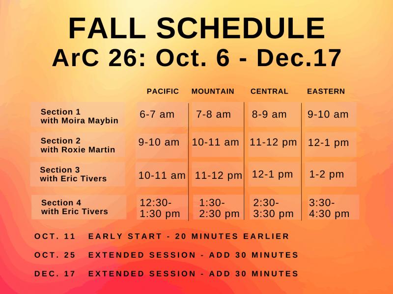 ArC 26 Fall Schedule